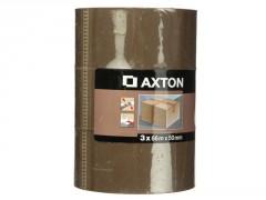 ADHESIF EMBALLAGE 66MX50MM MARRON LOT DE 3 AXTON