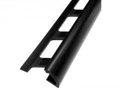 PROFIL PVC 1/4 DE ROND OUVERT NOIR 9MM LONGUEUR 2,50M