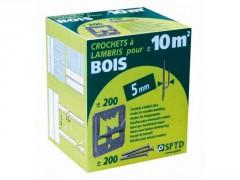 CROCHET A LAMBRIS BOIS + POINTE EPAISSEUR 5MM BOITE DE 200 PIECES